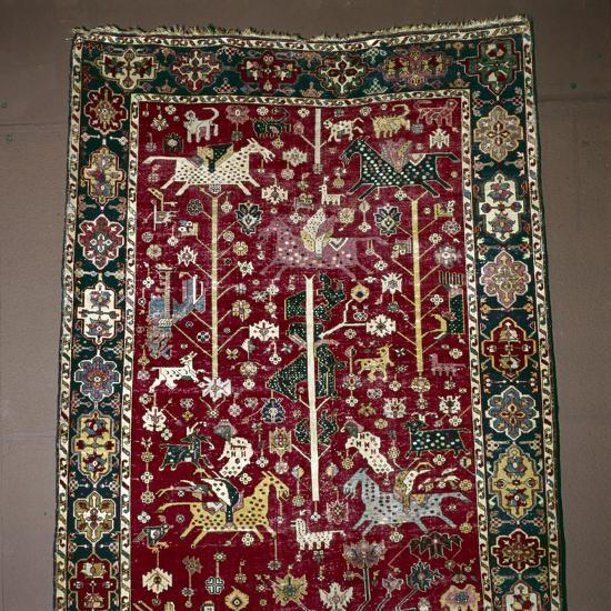 Islamic Carpet illustrating Hunting, the Caucasus, 17th century-Unknown-Giclee Print