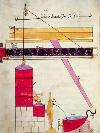 Device for Supplying Water to a Fountain, from 'Book of Knowledge of Ingenious Mechanical Devices'