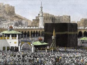 Islamic Pilgrims Around the Kaaba in the Mecca Mosque, 1890s