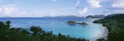 Island and a Beach, Trunk Bay, St. John, US Virgin Islands--Photographic Print
