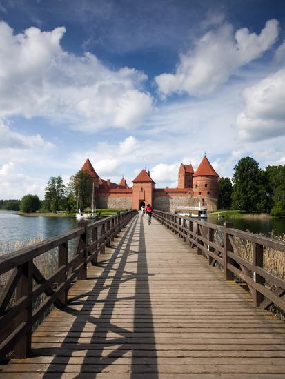 Island Castle on Lake Galve, Trakai Historical National Park, Trakai, Lithuania-Walter Bibikow-Photographic Print