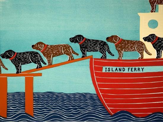 Island Ferry Black And Choc-Stephen Huneck-Giclee Print