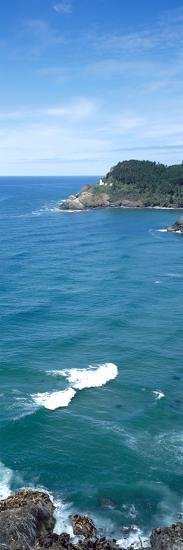 Island in the Pacific Ocean, Heceta Head Light, Oregon Coast, Oregon, USA--Photographic Print