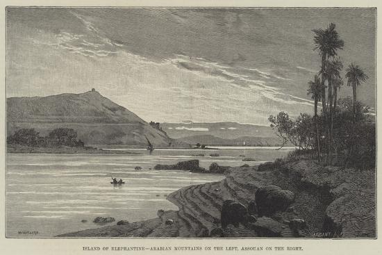 Island of Elephantine, Arabian Mountains on the Left, Assouan on the Right-Charles Auguste Loye-Giclee Print