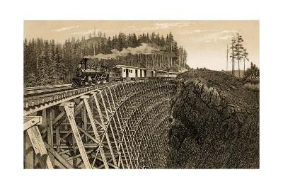 Island Railway Crossing Arbutus Canyon, British Columbia, 1800s--Photographic Print