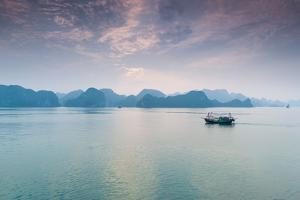 Islands and boat in the Pacific Ocean, Ha Long Bay, Quang Ninh Province, Vietnam