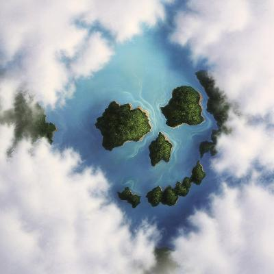 Islands Framed by Clouds Forming a Skull--Art Print