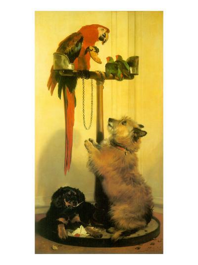 Islay and Tilco with a Macaw and Two Love-Birds, 1839--Giclee Print