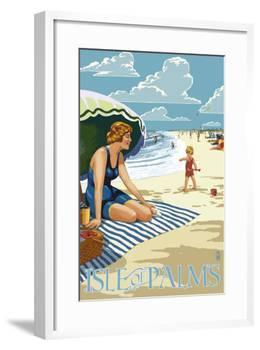 Isle of Palms, South Carolina - Beach Scene-Lantern Press-Framed Art Print