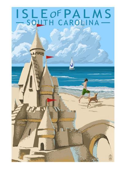Isle of Palms, South Carolina - Sandcastle-Lantern Press-Art Print