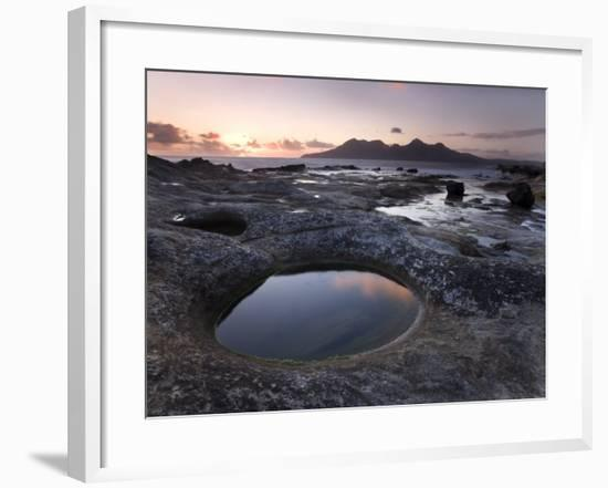 Isle of Rum at Sunset from Rock Formation at Laig Bay, Isle of Eigg, Inner Hebrides, Scotland, UK-Lee Frost-Framed Photographic Print