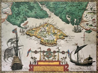 Isle Of Wight Old Map Ans Southern England. By Baptista Boazio, Published In England, 1591-marzolino-Art Print