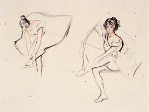 Two Ballerinas, Holding Their Ankles Wearing Ballet Skirts by Isobel Lilian Gloag
