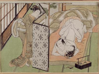 A 'Shunga' (Erotic) Print: Lovers Being Observed by a Maid from Behind a Screen