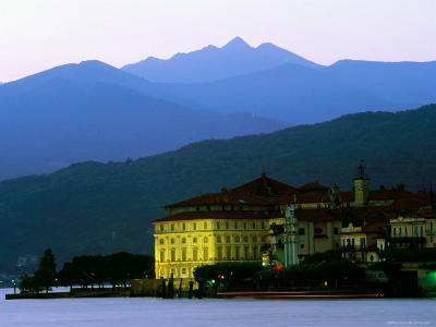 Isola Bella Lakeside Buildings Seen from Stresa at Dusk, Lago Maggiore, Piedmont, Italy-Glenn Van Der Knijff-Photographic Print