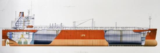 Isomeria Oil Tanker, 1982, United Kingdom, Cutaway Drawing-De Agostini Picture Library-Photographic Print
