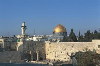Israel, Jerusalem, Dome of Rock and Western Wall--Giclee Print