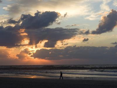 Israel, Man Walking on Beach, Tel Aviv, Israel-Keenpress-Photographic Print