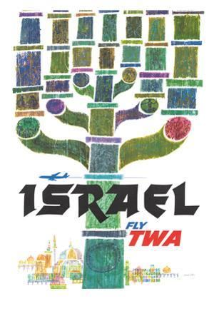 Israel - Trans World Airlines Fly TWA - Menorah
