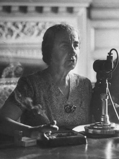 Israeli Foreign Minister Golda Meir Speaking at Press Conference-Loomis Dean-Premium Photographic Print