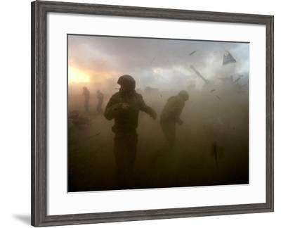 Israeli Gunners as They Stand in the Shock Wave as an Artillery Piece Fires into Southern Lebanon--Framed Photographic Print