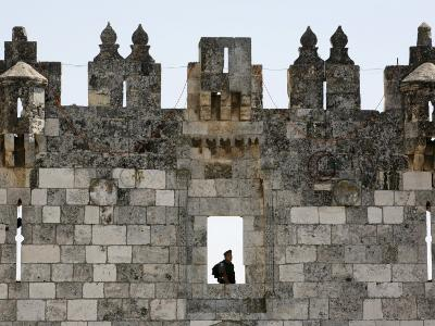 Israeli Soldier at Damascus Gate, Jerusalem, Israel, Middle East-Godong-Photographic Print