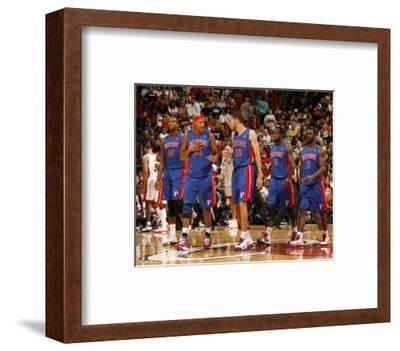 Detroit Pistons v Miami Heat: Greg Monroe, Charlie Villanueva, Tayshaun Prince and Rodney Stuckey