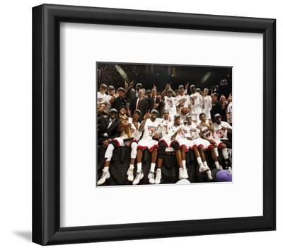 Miami, FL - June 21:  The Miami Heat pose for a team photo after defeating the Oklahoma City Thunde