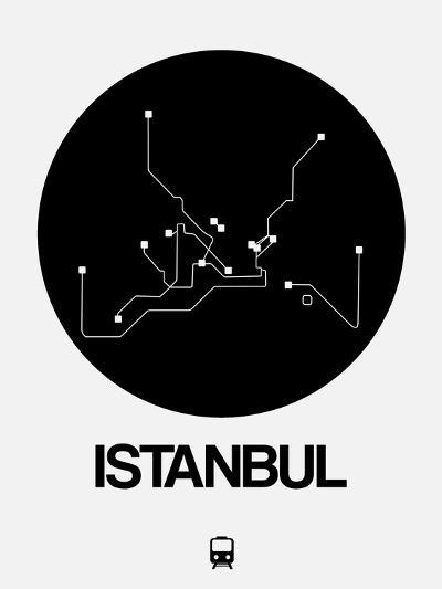 Istanbul Black Subway Map-NaxArt-Art Print