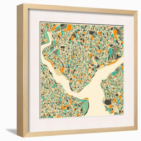 Istanbul Map-Jazzberry Blue-Framed Art Print