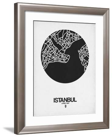 Istanbul Street Map Black on White-NaxArt-Framed Art Print