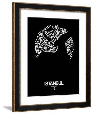 Istanbul Street Map Black-NaxArt-Framed Art Print