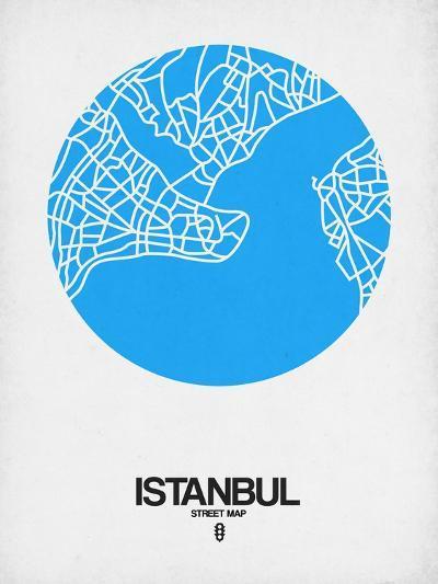 Istanbul Street Map Blue-NaxArt-Art Print