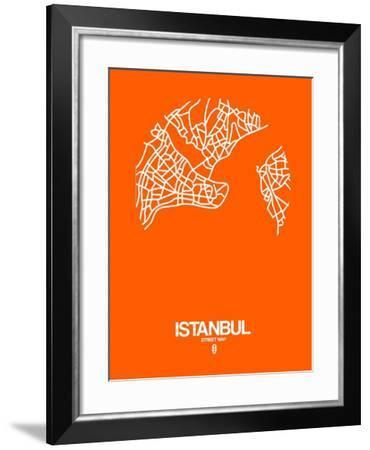 Istanbul Street Map Orange-NaxArt-Framed Art Print