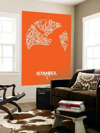 Istanbul Street Map Orange-NaxArt-Wall Mural