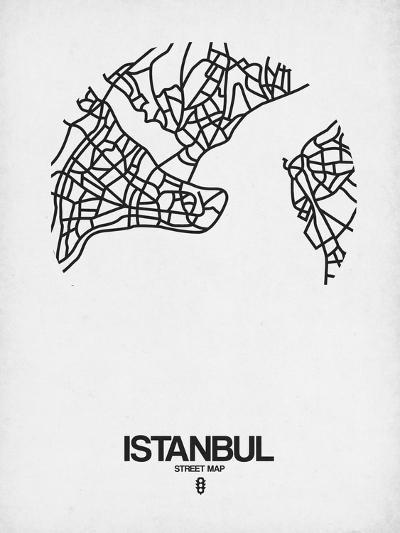 Istanbul Street Map White-NaxArt-Art Print