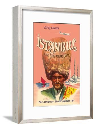 Istanbul Turkey and the Near East, Fly by Clipper, Pan American World Airways--Framed Art Print