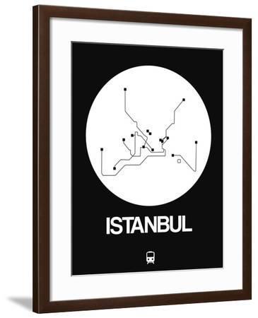 Istanbul White Subway Map-NaxArt-Framed Art Print