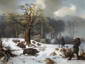 Winterliche Wildschweinjagd by István Nagy
