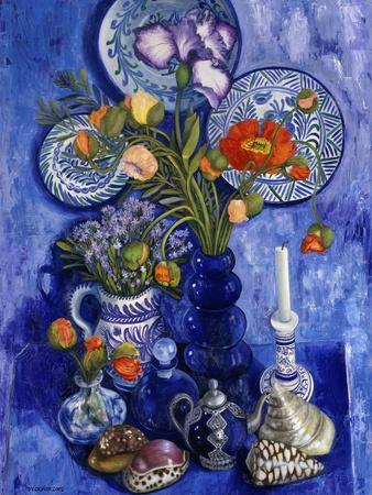 Blue Still Life with Poppies and Shells