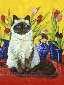 Cat and Tulips I (Chat Tulipes I) by Isy Ochoa