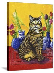 Cat and Tulips II (Chat Tulipes II) by Isy Ochoa