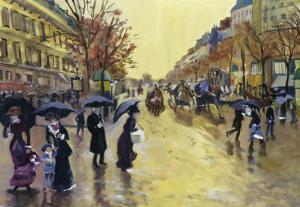 Les Grands Boulevards (After Jean Beraud) by Isy Ochoa