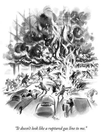 """It doesn't look like a ruptured gas line to me."" - New Yorker Cartoon-Lee Lorenz-Premium Giclee Print"