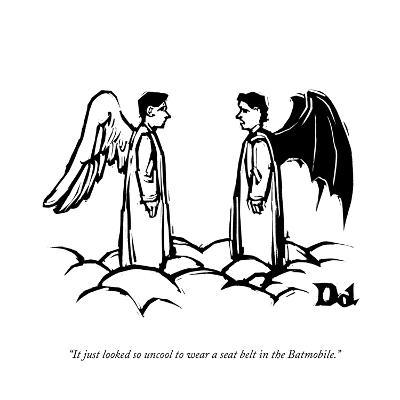 """It just looked so uncool to wear a seat belt in the Batmobile."" - New Yorker Cartoon-Drew Dernavich-Premium Giclee Print"