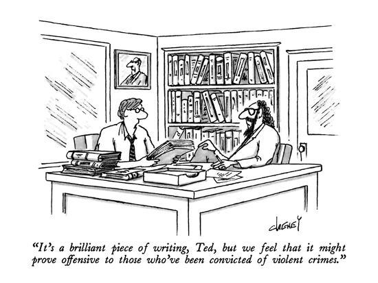 """""""It's a brilliant piece of writing, Ted, but we feel that it might prove o?"""" - New Yorker Cartoon-Tom Cheney-Premium Giclee Print"""