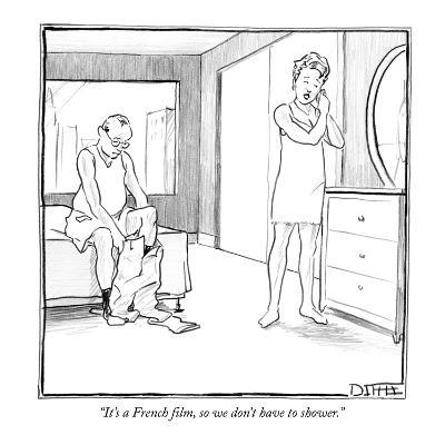 """It's a French film, so we don't have to shower."" - New Yorker Cartoon-Matthew Diffee-Premium Giclee Print"