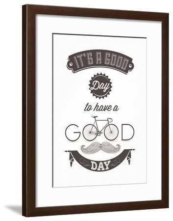 It'S A Good Day To Have A Good Day - Typographical Illustration Bicycle Poster-Melindula-Framed Art Print