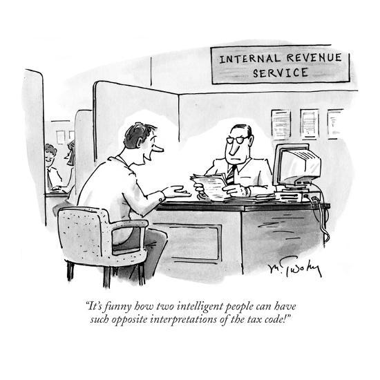 """""""It's funny how two intelligent people can have such opposite interpretati?"""" - New Yorker Cartoon-Mike Twohy-Premium Giclee Print"""