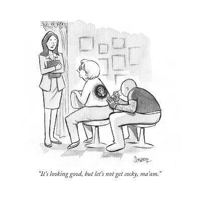 """""""It's looking good, but let's not get cocky, ma'am."""" - Cartoon-Benjamin Schwartz-Premium Giclee Print"""